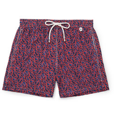 Isaia - Coral-Print Mid-Length Swim Shorts