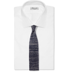 Isaia - Mélange Knitted Silk and Linen-Blend Tie
