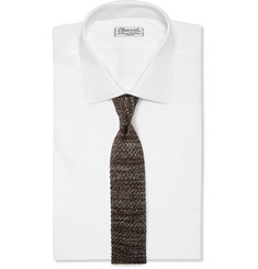 Isaia Mélange Knitted Silk and Linen-Blend Tie