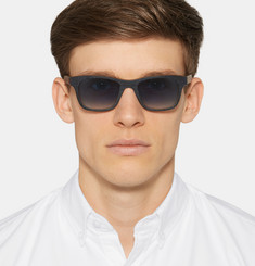 Isaia Square-Frame Plaid Wood Sunglasses