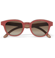 Isaia Round-Frame Wood and Jersey Sunglasses