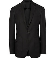 Burberry London Black Slim-Fit Mohair and Wool-Blend Hopsack Blazer