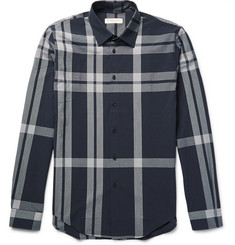 Burberry London Slim-Fit Checked Cotton-Seersucker Shirt