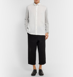 Issey Miyake Panelled Linen and Jersey Shirt