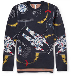 Loewe Galaxy-Jacquard Stretch-Virgin Wool Sweater