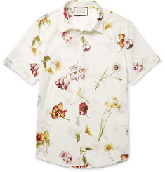 Gucci Slim-Fit Floral-Print Cotton Shirt