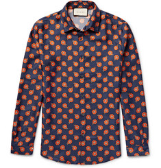 Gucci Slim-Fit Floral-Print Silk-Twill Shirt