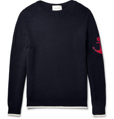 Gucci Anchor-Appliquéd Cotton Sweater