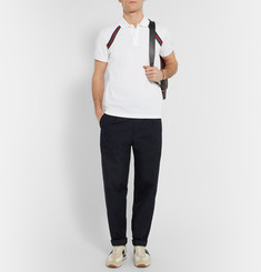 Gucci Slim-Fit Stripe-Trimmed Stretch-Cotton Polo Shirt