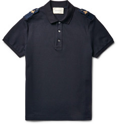 Gucci Slim-Fit Bee-Appliquéd Stretch-Cotton Piqué Polo Shirt