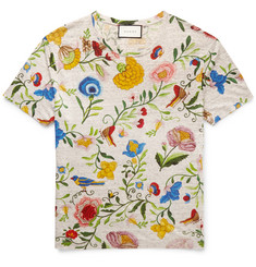 Gucci Oversized Floral-Print Linen T-Shirt