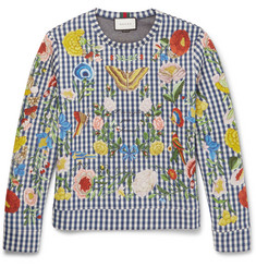 Gucci Floral-Embroidered Gingham Neoprene Sweatshirt