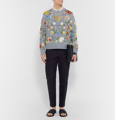 Gucci - Floral-Embroidered Gingham Neoprene Sweatshirt