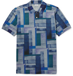 Brioni Patchwork-Effect Cotton-Piqué Polo Shirt