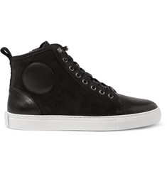 McQ Alexander McQueen Chris Leather and Suede High-Top Sneakers