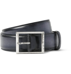 Berluti - 3.5cm Black Burnished-Leather Belt