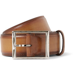 Berluti 3.5cm Brown Burnished-Leather Belt