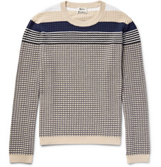Acne Studios - Koos Striped Waffle-Knit Cotton-Blend Sweater