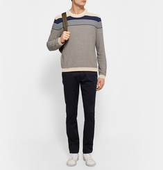 Acne Studios Koos Striped Waffle-Knit Cotton-Blend Sweater