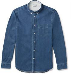 Acne Studios Isherwood Slim-Fit Button-Down Collar Washed-Denim Shirt