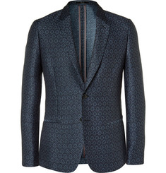 Paul Smith London Blue Soho Slim-Fit Linen and Cotton-Blend Jacquard Blazer