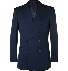 - Navy Double-Breasted Cotton Tuxedo Jacket