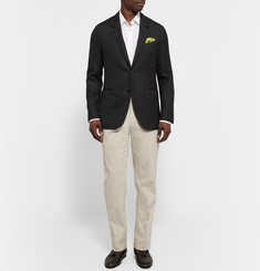 Caruso Black Slim-Fit Butterfly Wool-Hopsack Blazer
