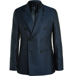 Caruso - Navy Slim-Fit Double-Breasted Silk Blazer