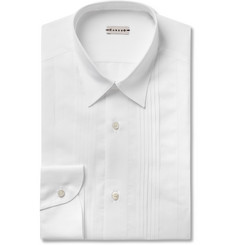 Caruso - White Bib-Front Cotton and Linen-Blend Shirt
