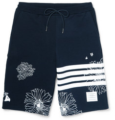 Thom Browne Wide-Leg Embroidered Loopback Cotton-Jersey Shorts