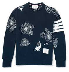 Thom Browne - Embroidered Loopback Cotton-Jersey Sweatshirt