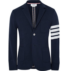 Thom Browne Slim-Fit Striped Loopback Cotton-Jersey Blazer