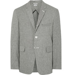 Thom Browne - Grey Fun Mix Slim-Fit Checked Linen and Cotton-Blend Blazer