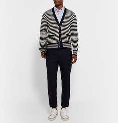 Thom Browne Striped Textured-Cotton Cardigan