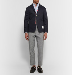 Thom Browne Grey Fun Mix Slim-Fit Checked Linen and Cotton-Blend Trousers