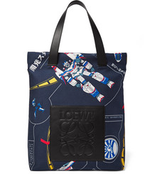 Loewe - Leather-Trimmed Printed Cotton-Twill Tote Bag