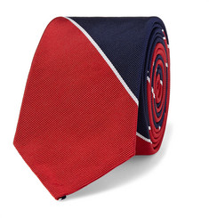 Thom Browne Striped Silk and Cotton-Blend Faille Tie
