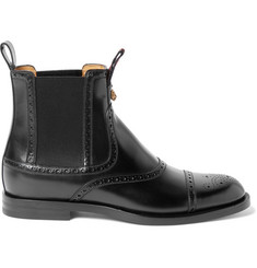 Gucci Brogue-Detailed Polished-Leather Chelsea Boots