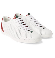 Gucci - Snake-Trimmed Perforated Leather Sneakers