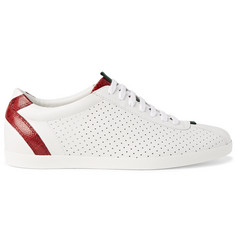 Gucci Snake-Trimmed Perforated Leather Sneakers