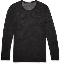 Balmain - Slim-Fit Knitted Cotton and Linen-Blend Mesh T-Shirt