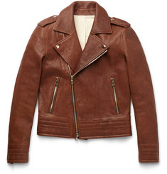 Balmain Slim-Fit Leather Biker Jacket