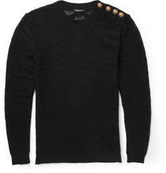 Balmain Slim-Fit Tiger-Jacquard Cotton-Mesh Sweater