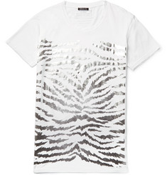 Balmain - Metallic Tiger-Print Cotton-Jersey T-Shirt