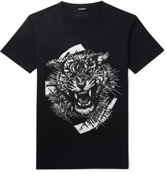Balmain Tiger-Print Cotton-Jersey T-Shirt