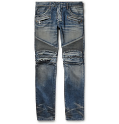 Balmain - Slim-Fit Distressed Denim Biker Jeans