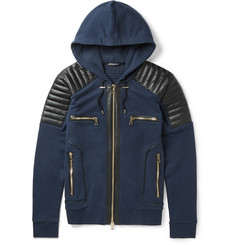 Balmain - Slim-Fit Leather-Panelled Cotton Hoodie