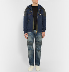 Balmain Slim-Fit Leather-Panelled Cotton Hoodie