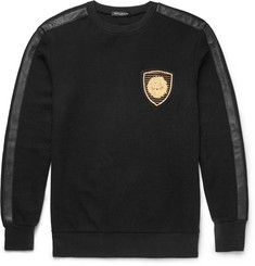 Balmain Leather-Trimmed Cotton Sweatshirt