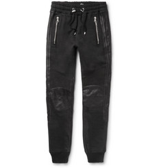 Balmain - Leather-Trimmed Cotton-Jersey Sweatpants